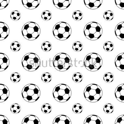 Sticker Seamless patterns from a soccer ball. Black and white. Vector illustration.