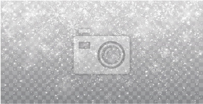 Sticker Seamless realistic falling snow or snowflakes. Isolated on transparent background - stock vector.