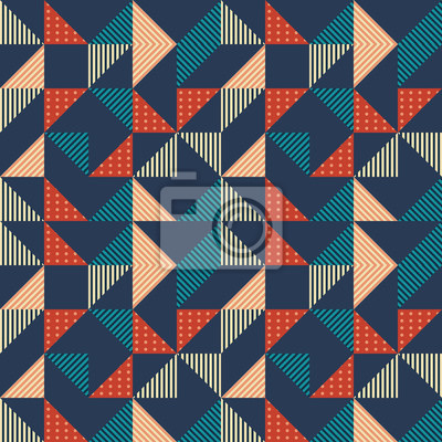 seamless trendy hipster triangle abstract vintage colorful pattern background.