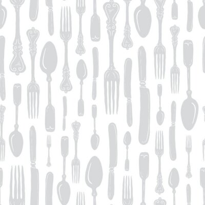 Sticker Seamless Vintage Heirloom Silverware - Fork, Spoon, Knife - Vector Repeat Pattern in Subtle Gray on Light Background