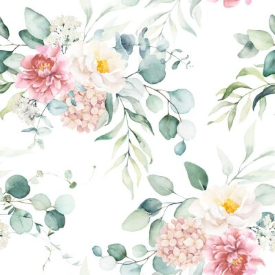 Sticker Seamless watercolor floral pattern with pink & peach cream flowers, leaves composition on white background, perfect for wrappers, wallpapers, postcards, greeting cards, wedding invitations, events.