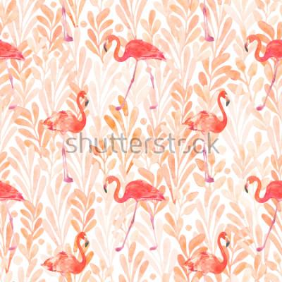 Sticker Seamless watercolor pattern with a bird flamingo. Beautiful pink bird. Tropical flamingo.