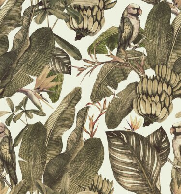 Sticker Seamless watercolor pattern with hibiscus, palm leaves, branch of strelitzia, calathea.Tropic  vintage background