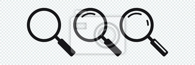 Sticker Search icon. Magnifying glass icon, vector magnifier or loupe sign.