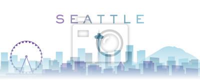Seattle Transparent Layers Gradient Landmarks Skyline