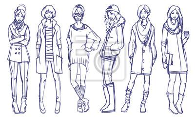 Sechs verschiedene Street Style sieht aus. Herbst und Frühjahr Saison Freizeitkleidung. Vector skizzieren freehand skizze