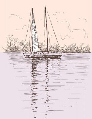 Sticker Segelboot an einem Ufer