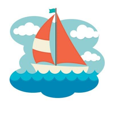 Sticker Segelboot auf Wellen