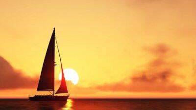 Sticker Segelboot und Sonnenuntergang