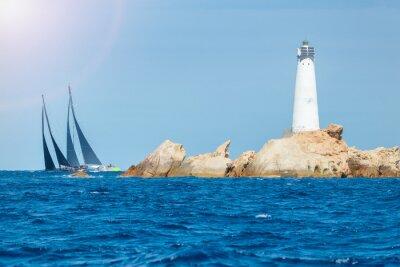 Sticker Segeln in Sardinien, Monaci Island Lighthouse, Italien