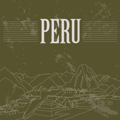 Sticker Sehenswürdigkeiten in Peru. Retro-Stil Bild.