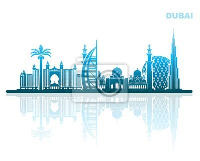 Sehenswürdigkeiten von Dubai. Abstrakte stadtlandschaft