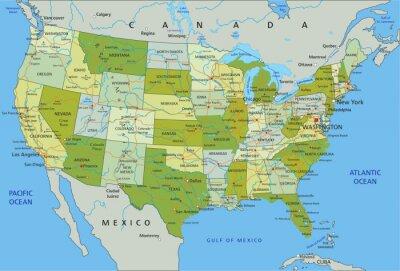 Sticker Sehr detaillierte editierbare Politische Karte mit den getrennten Schichten. Vereinigte Staaten von Amerika.
