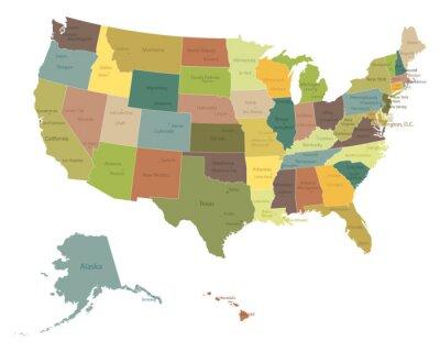 Sticker Sehr detaillierte politische map.Layers USA eingesetzt.