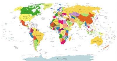 Sticker Sehr Detaillierte Politische Weltkarte Isolated On White