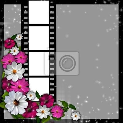 Seitenlayout Fotoalbum mit Blumen und Filmstreifen