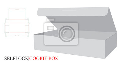 Self Lock Box with Die lines. Cookies Box Illustration. Vector with die cut / laser cut layers. White, clear, blank, isolated Paper Box Illustration on white background. Packaging Design