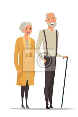 Senior couple together color vector illustration