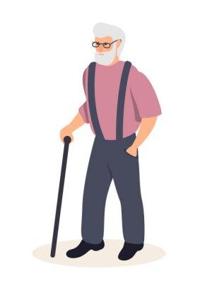 Senior man with cane flat vector illustration