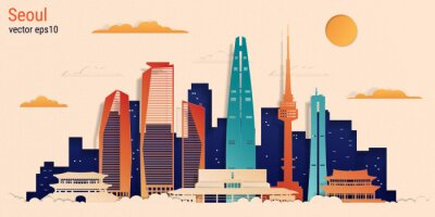 Seoul city colorful paper cut style, vector stock illustration. Cityscape with all famous buildings. Skyline Seoul city composition for design.