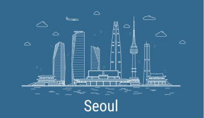 Seoul city, Line Art Vector illustration with all famous towers. Linear Banner with Showplace. Composition of Modern buildings, Cityscape. Seoul buildings set.
