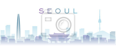Seoul Transparent Layers Gradient Landmarks Skyline