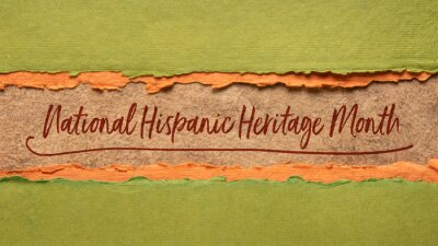 Sticker September 15 - October 15, National Hispanic Heritage Month - handwriting in a handmade paper banner, reminder of cultural event
