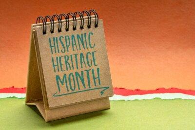 Sticker September 15 - October 15, National Hispanic Heritage Month - handwriting in a sketchbook or desktop calendar, reminder of cultural event