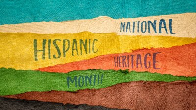 Sticker September 15 - October 15, National Hispanic Heritage Month - handwriting in Huun paper handmade in Mexico, reminder of cultural event