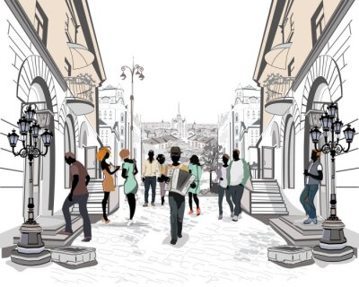 Sticker Serie der Straßen mit Menschen in der Altstadt.