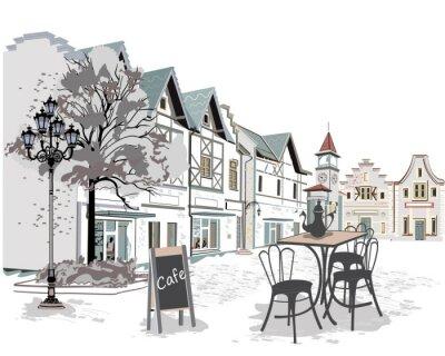 Sticker Serie von Straßencafés in der Altstadt