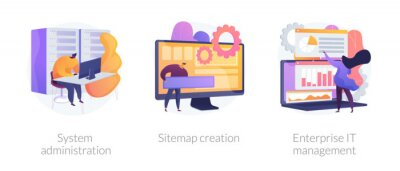 Sticker Server maintenance, web design development, business organization icons set. System administration, sitemap creation, enterprise it management metaphors. Vector isolated concept metaphor illustrations