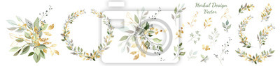 Sticker Set. Arrangement of decorative leaves and gold elements. Collection: leaves, twigs, herbs, leaf compositions, gold, wreath. Vector design.