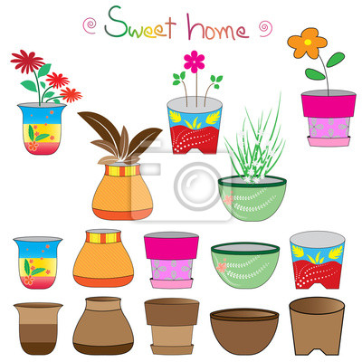 Set bunte Blumentöpfe, Blumentöpfe gesetzt Vector illustrationcolorful 2