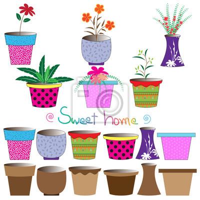Set bunte Blumentöpfe, Vektor-Illustration