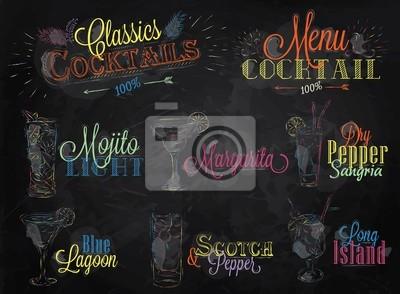 Set Cocktailkarte farbiger Kreide