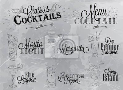 Set Cocktailkarte Holzkohle