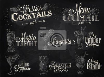 Set Cocktailkarte Kreide