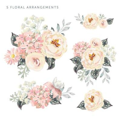 Sticker Set der Blumenarrangements. Blass rosa Pfingstrosen und Hortensien mit grauen Blättern. Romantische Gartenblumen des Aquarellvektors.