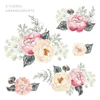 Sticker Set der Blumenarrangements. Rosa Pfingstrosensträuße mit grauen Blättern. Aquarell-Vektor-Illustration. Romantische Gartenblumen.