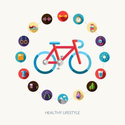 Sticker Set flache Design Sport, Fitness und gesunde Lebensweise Symbole