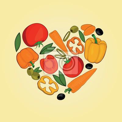 Set Gemüse im Herzen Formen