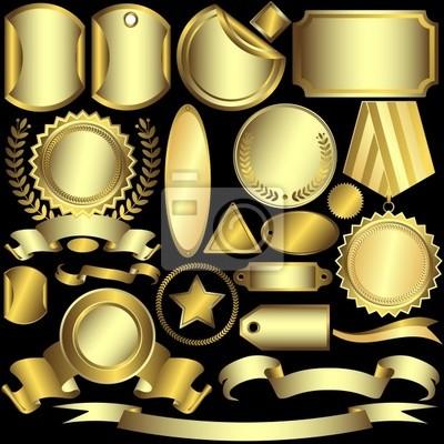 Set golden und silbrig Etiketten (Vektor)