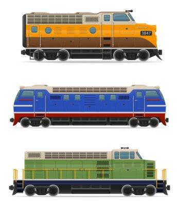 Sticker Set Ikonen Eisenbahn Lokomotive Zug Vektor-Illustration