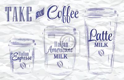 Set Kaffee trinken. Zerknittertes Papier.