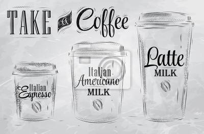 Set Kaffeetrinken Cup-Größen in vintage Kohle