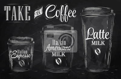 Set Kaffeetrinken Cup-Größen in vintage Kreide