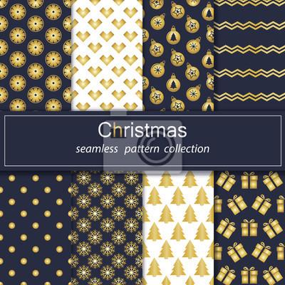 Set. Nahtlose Hintergründe mit traditionellen Symbolen von Weihnachten und Neujahr.