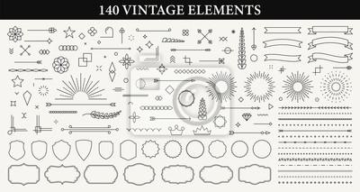 Sticker Set of 140 Vintage line elements. Retro design elements. Ornaments and Frames. Drawing geometrics line. Decoration, banners, posters, emblems, labels. Vector illustration.