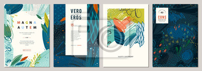 Sticker Set of abstract creative universal artistic templates.
